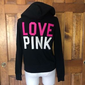 Victoria's Secret PINK Black Appliqué Zip Up S